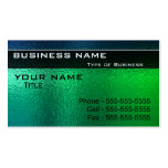 Shiny Green and Blue Metal Generic Business Cards
