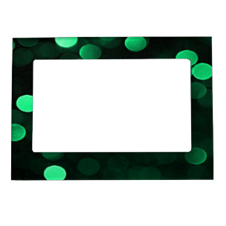 Shiny Green Christmas Lights Bokeh Magnetic Photo Frame