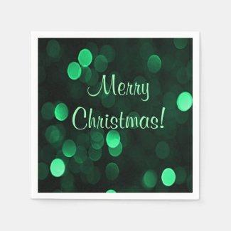 Shiny Green Christmas Lights Bokeh Merry Christmas