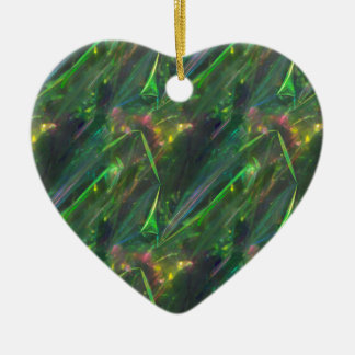 Shiny Green Color Folds Texture Pattern Ceramic Ornament