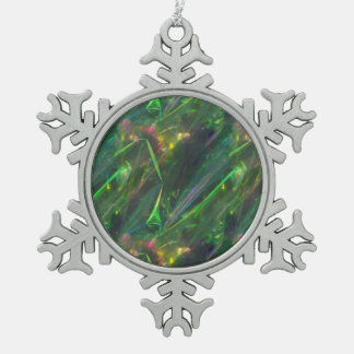 Shiny Green Color Folds Texture Pattern Snowflake Pewter Christmas Ornament