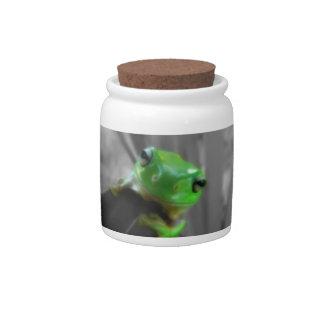 Shiny Green Frog Candy Jar
