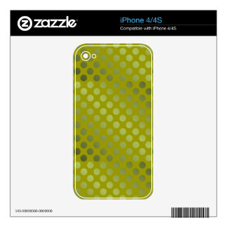 Shiny Green Polka Dots Skins For The iPhone 4S