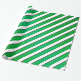 Shiny Green Ribbon Stripes Wrapping Paper