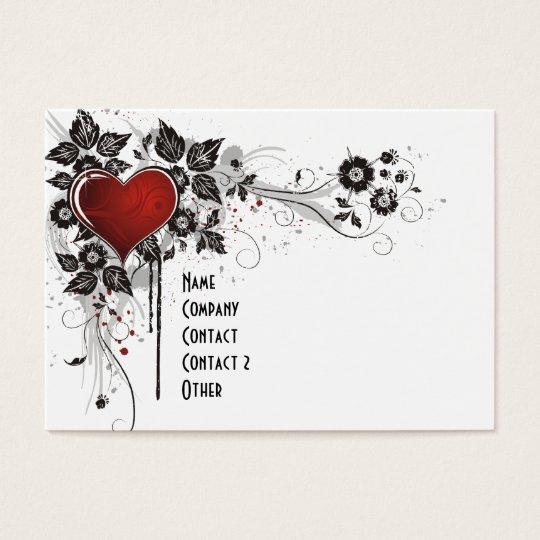 Shiny Heart, Leaves & Flowers - Original Business Card
