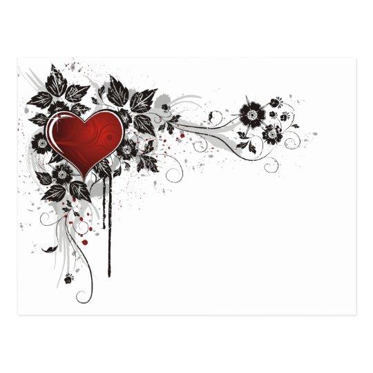 Shiny Heart, Leaves & Flowers - Original Postcard