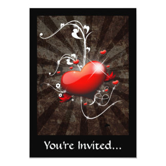 "Shiny Heart with Swirly Grunge Background 5"" X 7"" Invitation Card"