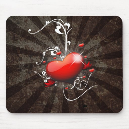 Shiny Heart with Swirly Grunge Background Mouse Pads