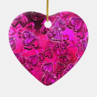 Shiny Hearts Double-Sided Heart Ceramic Christmas Ornament