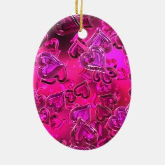 Shiny Hearts Double-Sided Oval Ceramic Christmas Ornament