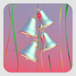 Shiny Holiday Silver Bells Square Sticker