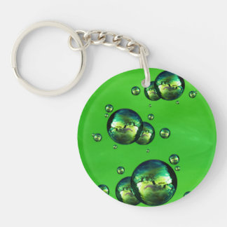 Shiny Iridescent Green Color Bubbles Keychain