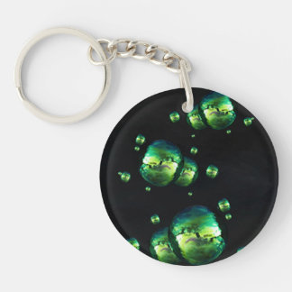 Shiny Iridescent Green Color Bubbles On Black Keychain