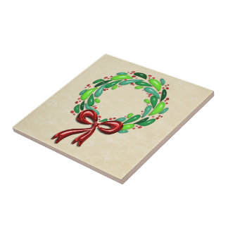 Shiny Laurel Leaf Wreath with Red Bow Small Square Tile