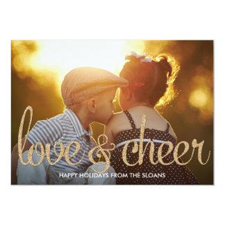 Shiny Love & Cheer Holiday Photo Card Personalized Invite