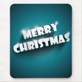 Shiny Merry Christmas greeting on blue background Mouse Pad