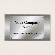 Shiny Metal Look With Screws Business Cards at Zazzle