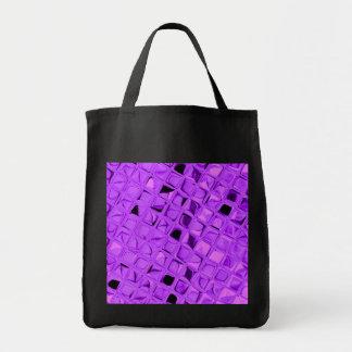 Shiny Metallic Amethyst Diamond Reusable Black Tote Bag