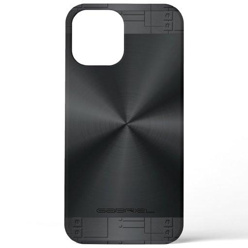 Shiny Metallic Black Geometric Accents iPhone 12 Pro Max Case