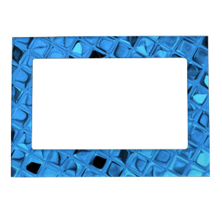 Shiny Metallic Blue Diamond Faux Serpentine Magnetic Frame