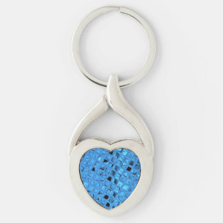 Shiny Metallic Blue Diamond Faux Serpentine Silver-Colored Heart-Shaped Metal Keychain