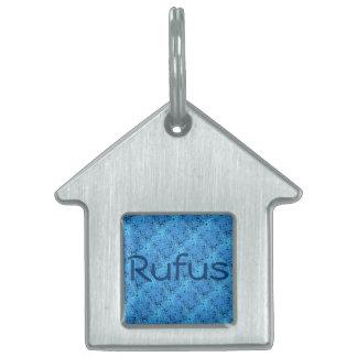 Shiny Metallic Blue Serpentine Customized Name Pet Name Tag