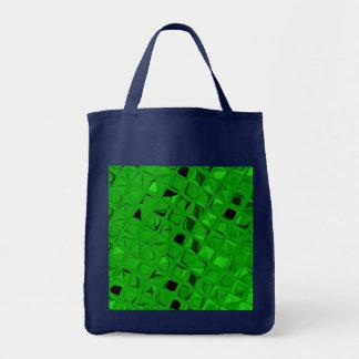 Shiny Metallic Emerald Diamond Reusable Navy Blue Tote Bag
