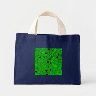 Shiny Metallic Emerald Diamond Small Navy Blue Mini Tote Bag