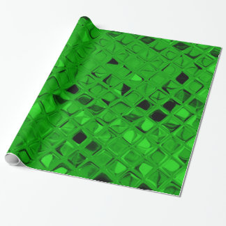 Shiny Metallic Emerald Green Diamond Serpentine Wrapping Paper