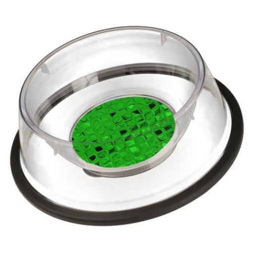 Shiny Metallic Emerald Green Diamond Serpentine Pet Bowl
