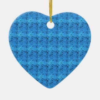 Shiny Metallic Girly Blue Diamond Sissy Sassy Double-Sided Heart Ceramic Christmas Ornament