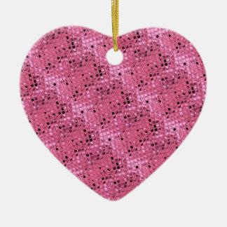 Shiny Metallic Girly Pink Diamond Sissy Sassy Double-Sided Heart Ceramic Christmas Ornament
