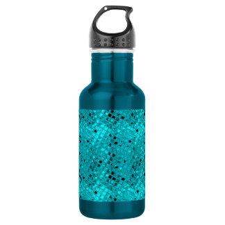 Shiny Metallic Girly Teal Diamond 18oz Water Bottle