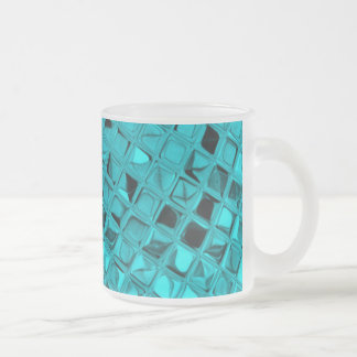 Shiny Metallic Girly Teal Diamond Sassy Sissy Frosted Glass Coffee Mug