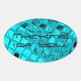 Shiny Metallic Girly Teal Diamond Sassy Sissy Oval Sticker