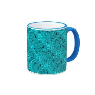Shiny Metallic Girly Teal Diamond Sassy Sissy Ringer Mug