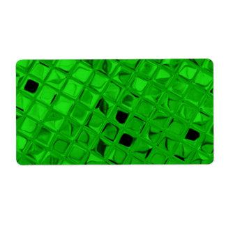 Shiny Metallic Look Glitter Glamour Green Metal Shipping Label