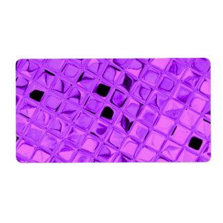 Shiny Metallic Look Glitter Glamour Purple Metal Shipping Label