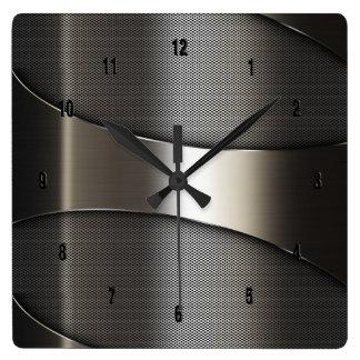 Shiny Metallic Modern Geometric Design Square Wall Clock