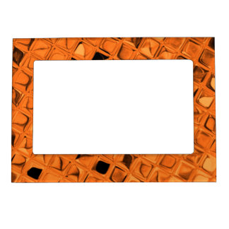 Shiny Metallic Orange Diamond  Faux Serpentine Magnetic Photo Frame