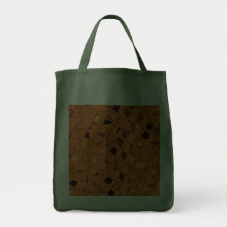 Shiny Metallic Orange Diamond Reusable Green Tote Bags