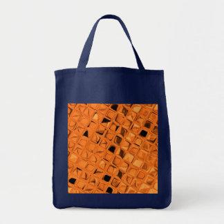 Shiny Metallic Orange Diamond Reusable Navy Blue Canvas Bag