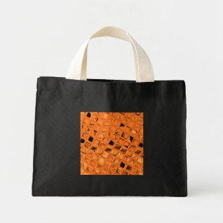Shiny Metallic Orange Diamond Small  Black Fashion Mini Tote Bag