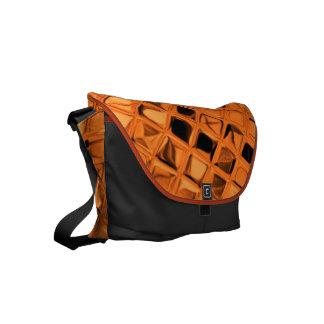 Shiny Metallic Orange Diamond Small Messenger Bag