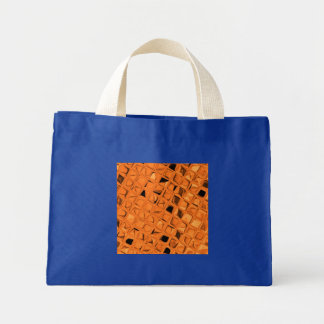 Shiny Metallic Orange Diamond Small Royal Blue Canvas Bag