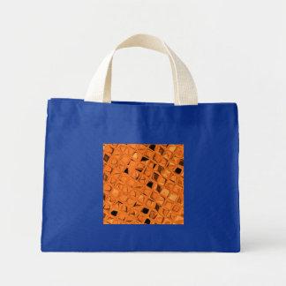 Shiny Metallic Orange Diamond Small Royal Blue Mini Tote Bag