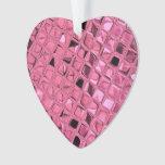 Shiny Metallic Pink Diamond Faux Serpentine