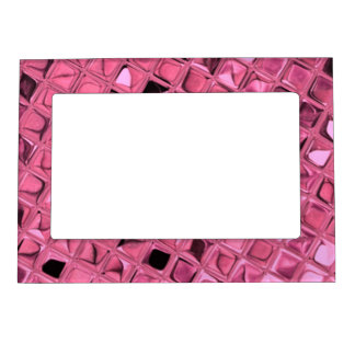 Shiny Metallic Pink Diamond Faux Serpentine Magnetic Picture Frame