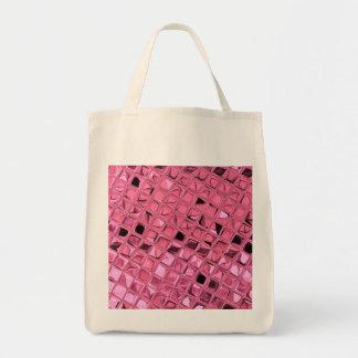 Shiny Metallic Pink Diamond Reusable Canvas Bag