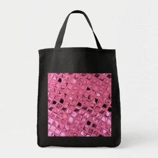 Shiny Metallic Pink Diamond Reusable Black Tote Bag
